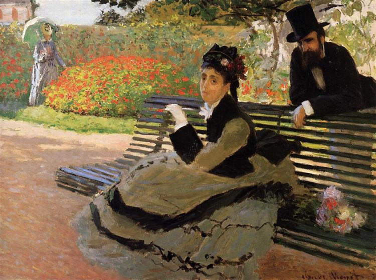 Camille Monet on a Garden Bench, 1873 - Claude Monet