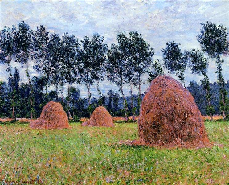 Haystacks, Overcast Day, 1884 - Claude Monet