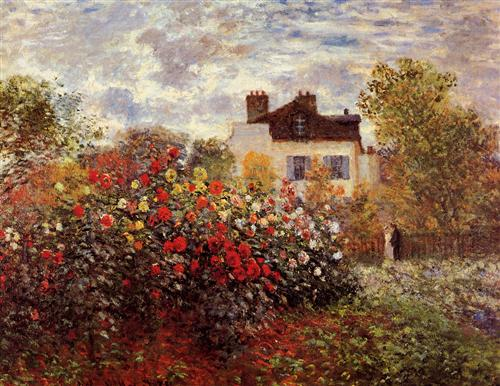Monet's garden in Argenteuil Sun - Claude Monet