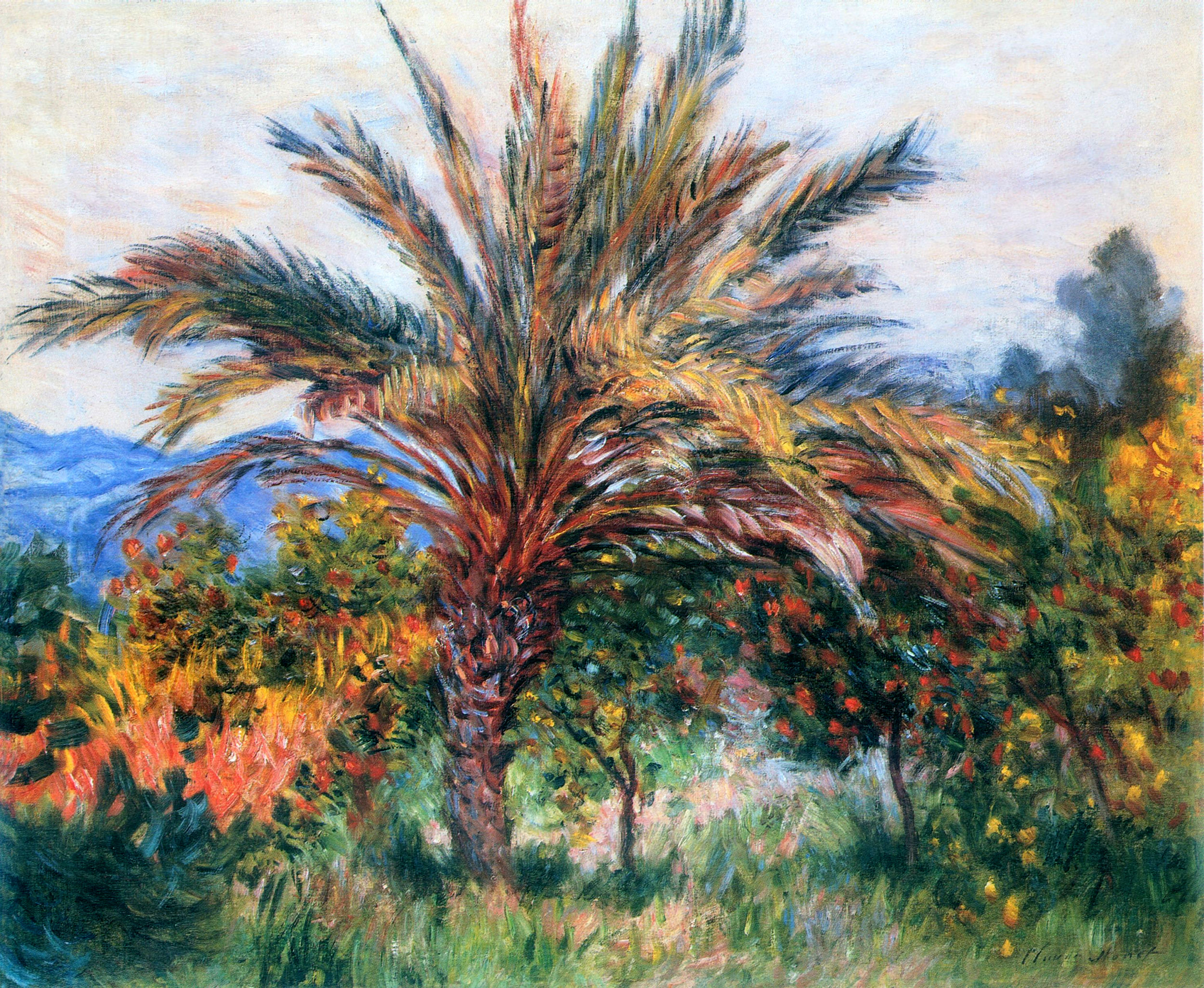 Palm tree at bordighera claude monet for Painting palm trees