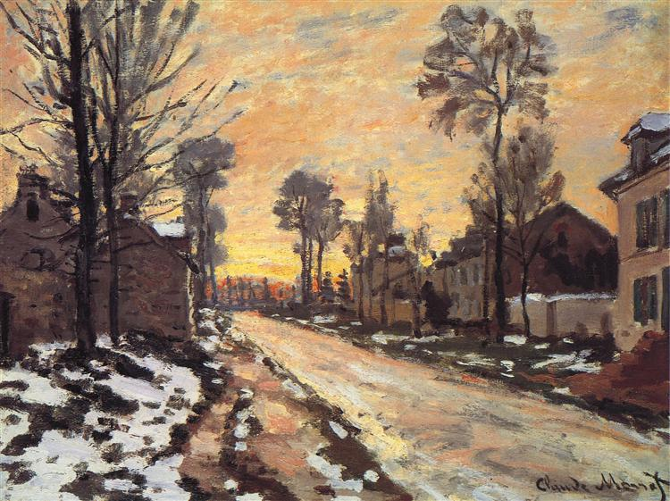 Road at Louveciennes, Melting Snow, Sunset, 1870 - Claude Monet