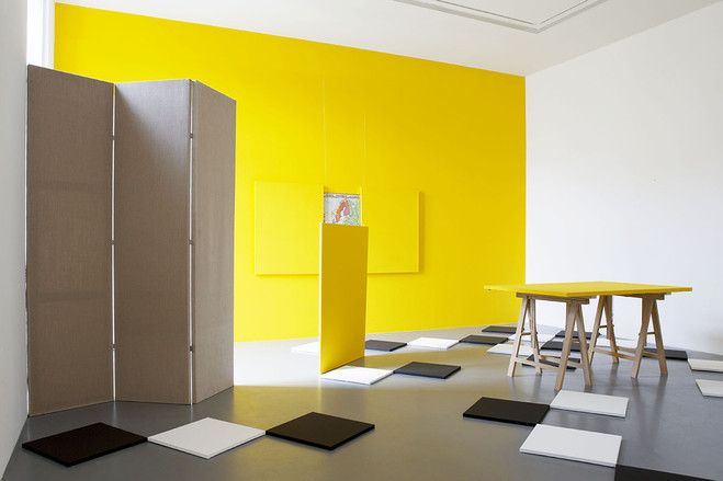 dé-finition/méthode #232: l'art de la peinture — l'atelier — vermeer, 1986 - Claude Rutault