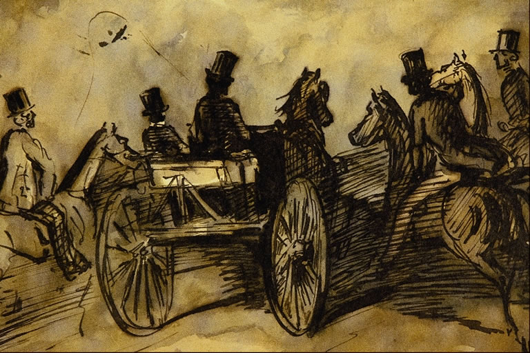 carriage and three gentlemen on horses constantin guys wikiart org