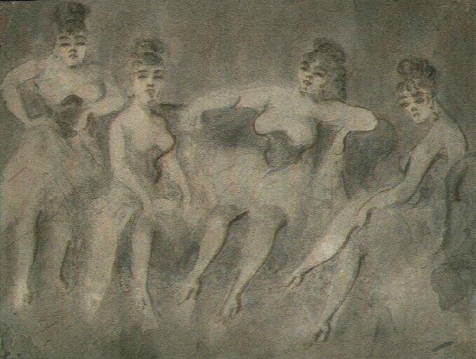 Four Women on a Sofa - Constantin Guys