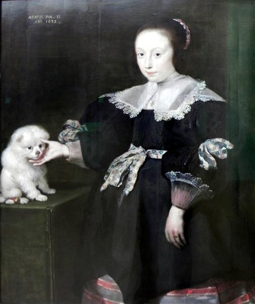 Portrait of an eleven year old girl with a dog, dressed in Spanish fashion - Cornelis de Vos