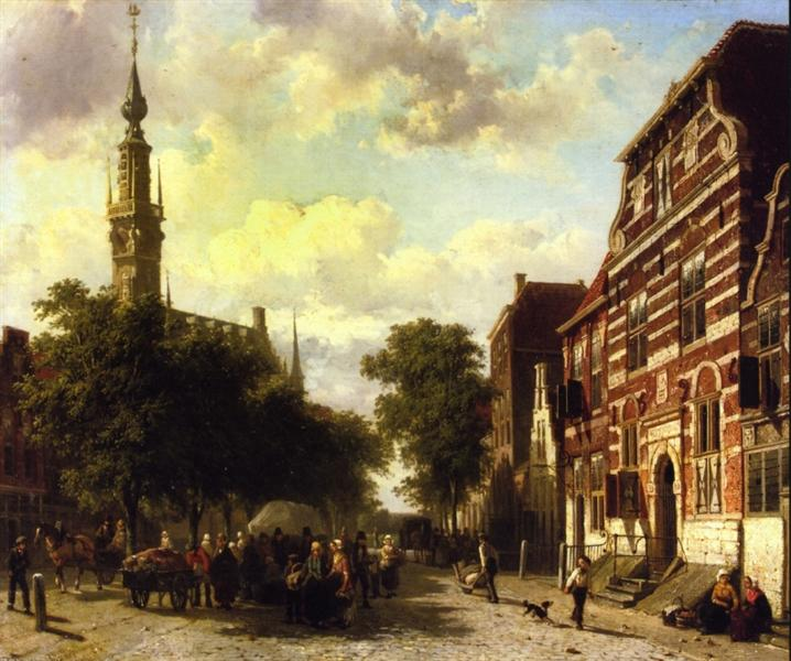 A Busy Market in Veere with the Clocktower of the Town Hall Beyond, 1857 - Cornelis Springer