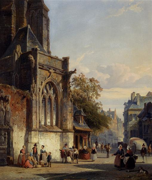 Town Square Before A Church A Capriccio, 1846 - Cornelis Springer
