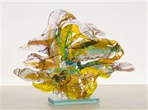 A pair of goose - colorful sculpture -  abstract glass art in fusion technique - Daan Lemaire