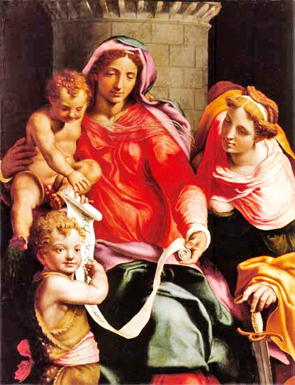 Madonna with Child, young Saint John the Baptist and Saint Barbara, 1548 - Даниеле да Вольтерра