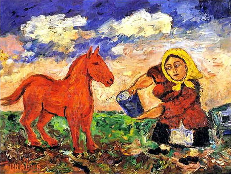 Peasant and horse, 1910 - David Burliuk