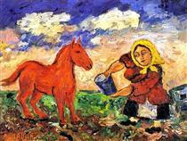 Peasant and horse - David Burliuk
