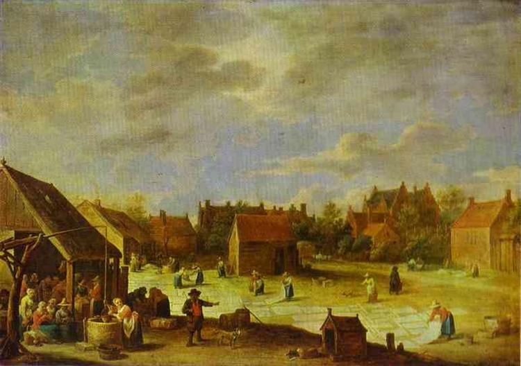 A Bleaching Ground - David Teniers the Younger