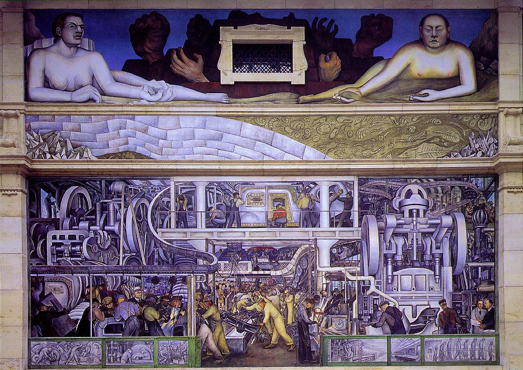 Detroit industry south wall 1932 1933 diego rivera for Diego rivera mural paintings