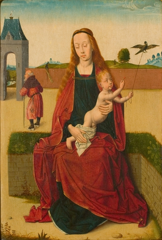 Madonna and Child on a grass bench, 1470