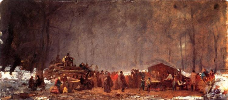 The Maple Sugar Camp. Turning Off, 1873 - Eastman Johnson