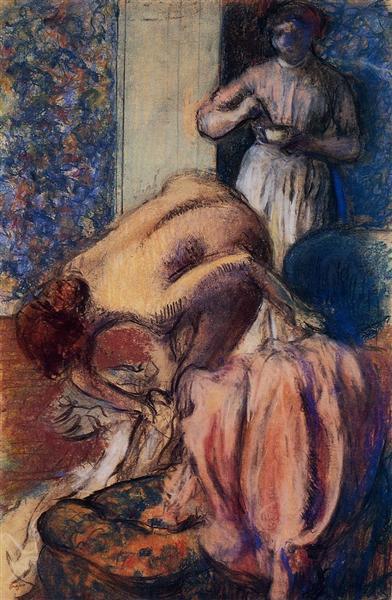 Breakfast after Bathing, c.1894 - Edgar Degas