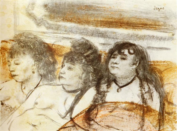 Three girls sitting en face, 1879 - Edgar Degas