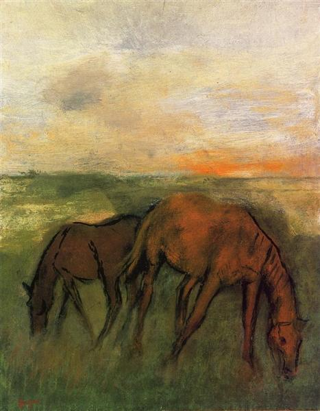 Two Horses in a Pasture, c.1871 - Edgar Degas
