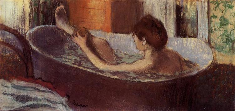 Woman in a Bath Sponging Her Leg, c.1883 - c.1884 - Edgar Degas