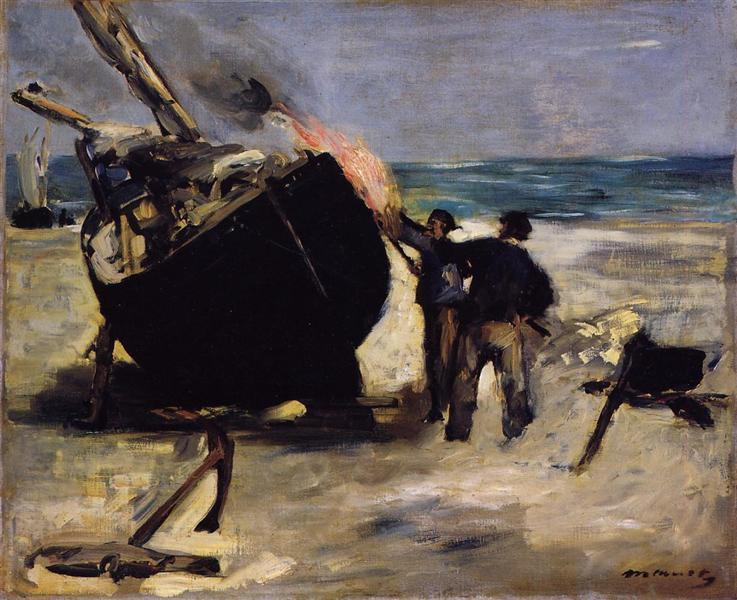 Tarring the Boat, 1873 - Edouard Manet