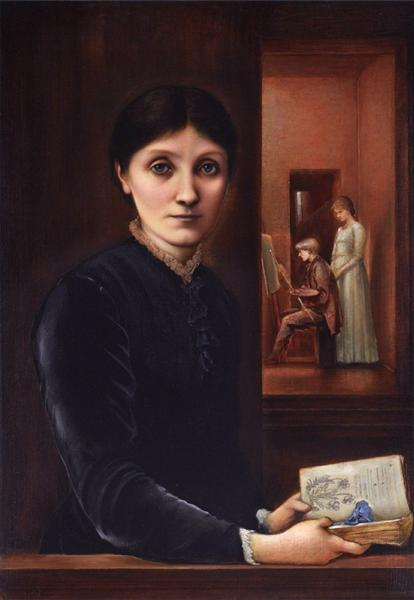 Georgiana Burne Jones, their children Margaret and Philip in the background, 1883 - Edward Burne-Jones