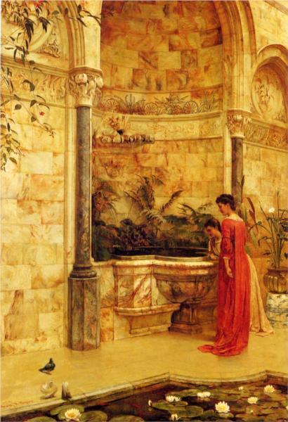 Elegant Ladies By A Fountain - Edward R. Taylor
