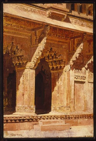Curiously Wrought Red Sandstone Arches, Fort Agra, India, c.1885 - c.1895 - Edwin Lord Weeks