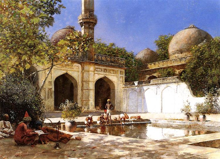 Figures in the Courtyard of a Mosque, c.1893 - c.1895 - Edwin Lord Weeks