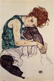 Seated Woman with Bent Knee - Эгон Шиле