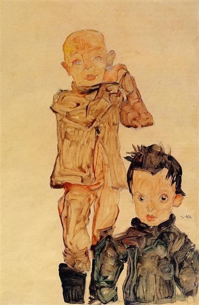 Two Boys, 1910 - Egon Schiele