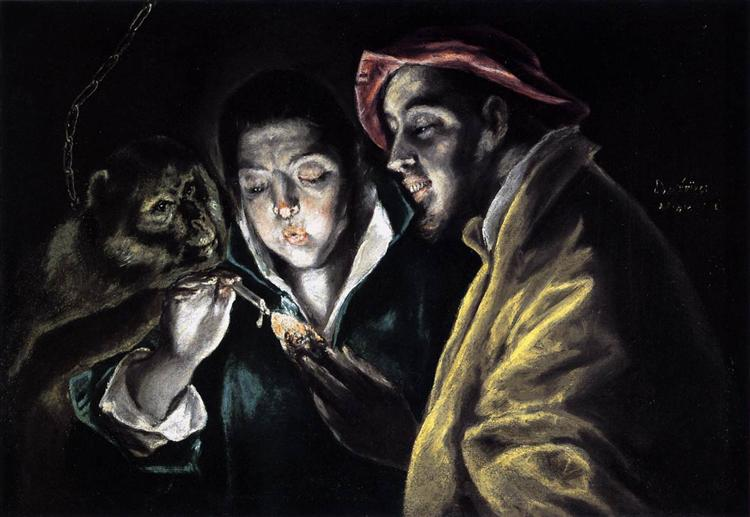Allegory, boy lighting candle in the company of an ape and a fool - Fábula, c.1590 - El Greco