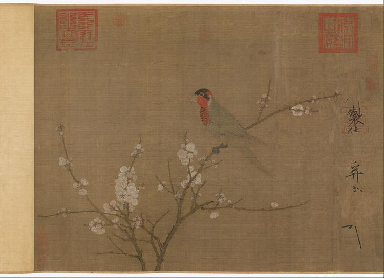Five-colored parakeet on a blossoming apricot tree - Song Huizong