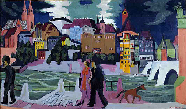 View of Basel and the Rhine - Ernst Ludwig Kirchner