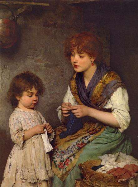The Knitting Lesson - Eugene de Blaas