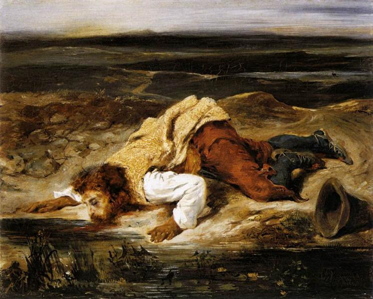 A Mortally Wounded Brigand Quenches his Thirst, 1825 - Eugene Delacroix