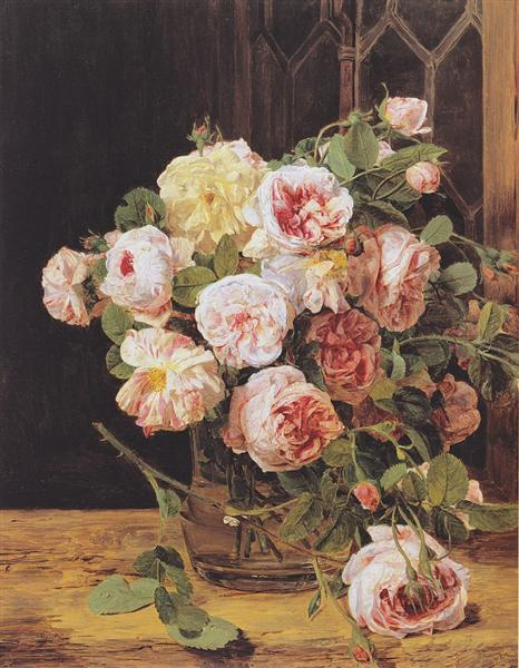 Bouquet of roses at the window, 1832 - Ferdinand Georg Waldmüller