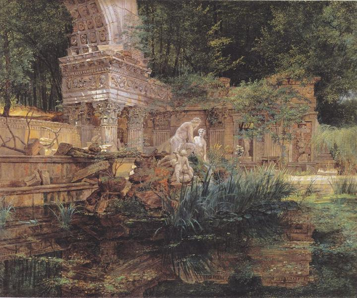 The Roman ruins in Schoenbrunn, 1832 - Фердинанд Георг Вальдмюллер