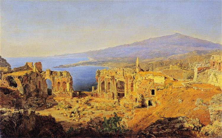 The ruin of the Greek theater in Taormina, Sicily, 1844 - Ferdinand Georg Waldmüller