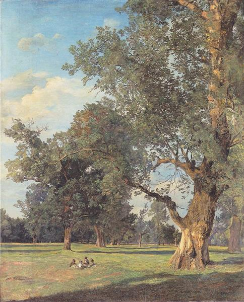 Trees in the Prater with seated figures, 1833 - Ferdinand Georg Waldmüller