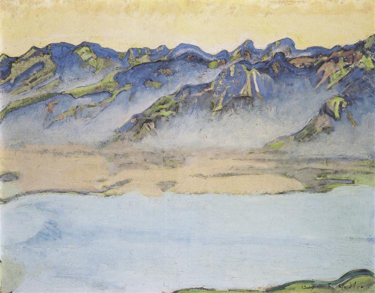 Rising mist over the Savoy Alps, 1917 - Ferdinand Hodler