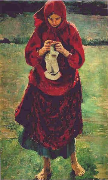 Peasant Girl Knitting a Stocking, 1895 - Filipp Malyavin
