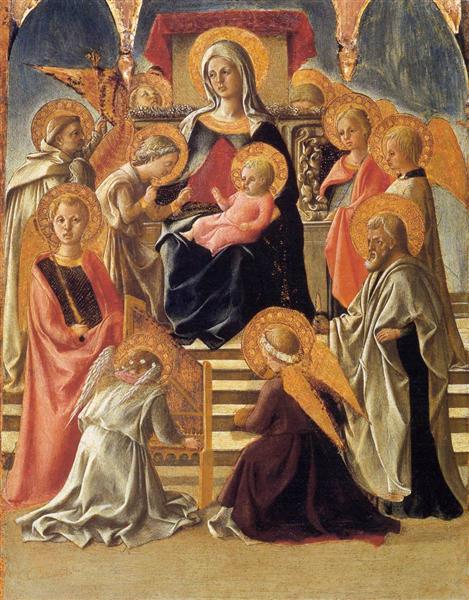 Madonna and Child Enthroned with Saints, c.1430 - Filippo Lippi