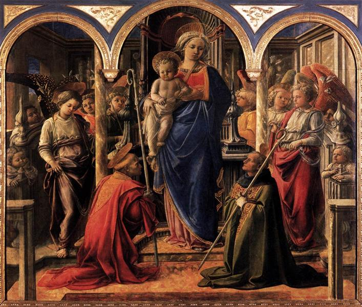 Madonna and Child with St. Fredianus and St. Augustine, 1437 - 1438 - Filippo Lippi