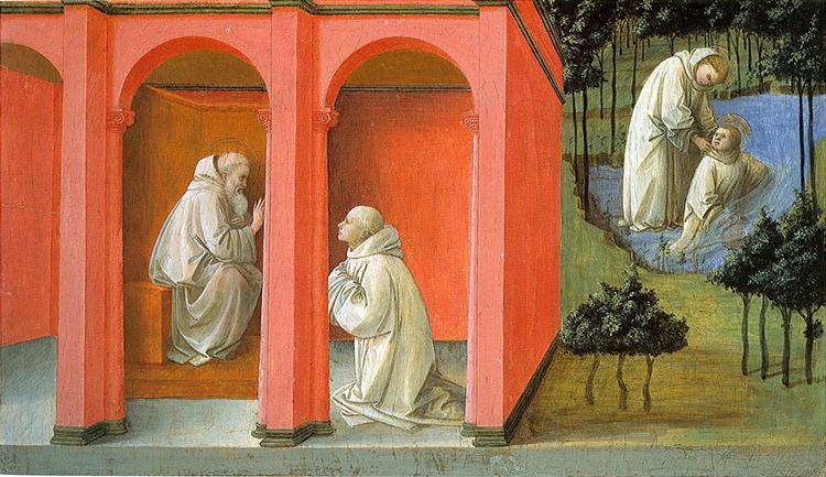 St. Benedict Orders St. Maurus to the Rescue of St. Placidus, c.1445 - c.1450 - Filippo Lippi