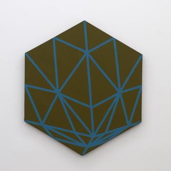 Hexagon with turquoise lines, 1980 - Florin Maxa