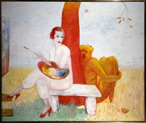 Self-Portrait with Palette (Painter and Faun) - Florine Stettheimer