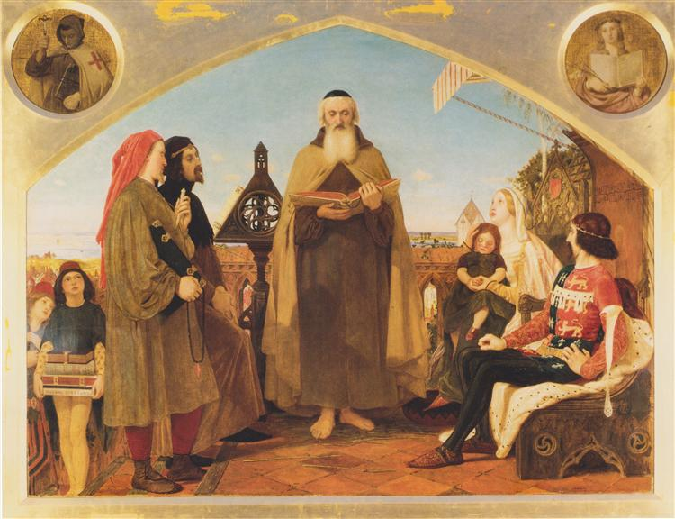 John Wycliffe reading his translation of the Bible to John of Gaunt, 1847 - Ford Madox Brown