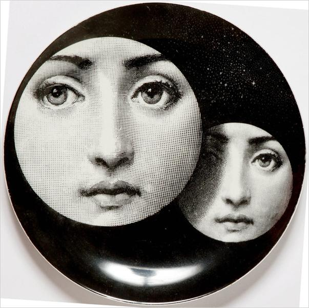 Theme & Variations Decorative Plate #150 (Two Circles with Faces) - Fornasetti