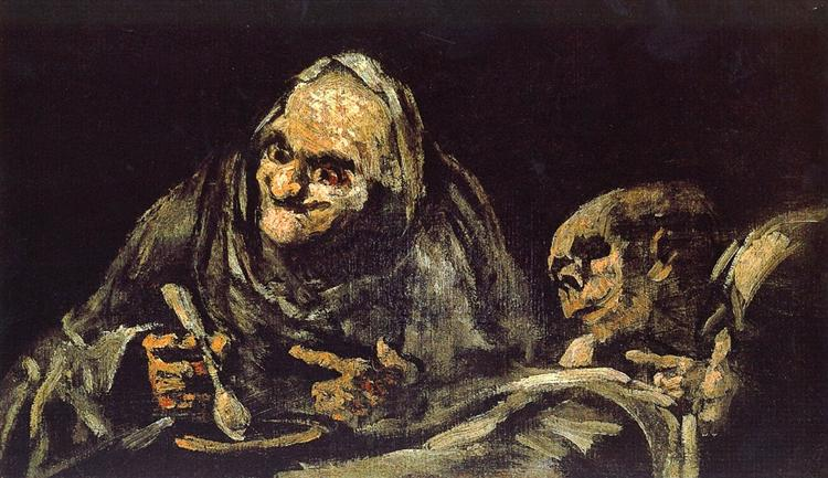 Two Old Ones Eating Soup / The Witchy Brew, 1819 - 1823 - Francisco Goya