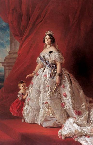 Portrait of Queen Isabella II of Spain and her daughter Isabella - Franz Xaver Winterhalter